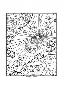 Раскраска астероиды в космосе