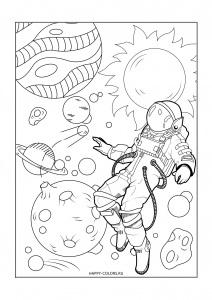 Раскраска астронавт и планеты