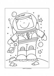 Раскраска космонавт на Луне