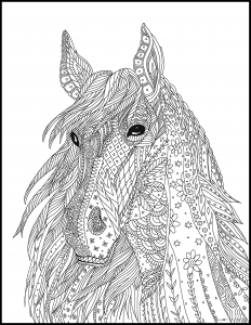 Голова лошади сложный мелкий рисунок