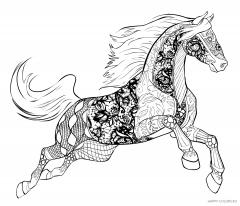 Лошадь в прыжке с орнаментом