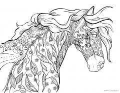 Лошадь с орнаментом из цветов