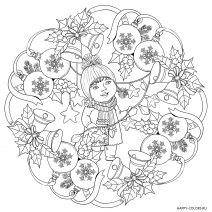 Новогодняя раскраска Девочка и елочные шарики