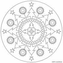 Новогодняя раскраска елочки Мандала