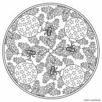 Новогодняя раскраска Елочные шары мандала