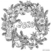 Новогодняя раскраска мандала 2020