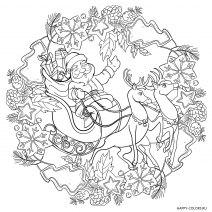 Новогодняя раскраска мандала Дед Мороз с оленями