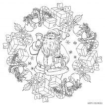 Новогодняя раскраска мандала Дед Мороз с подарками