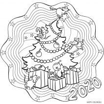 Новогодняя раскраска мандала Елка с мышками