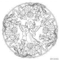 Новогодняя раскраска мандала Рождественский ангел