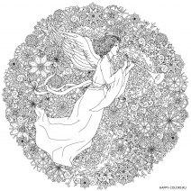 Новогодняя раскраска мандала с ангелом
