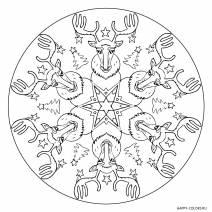 Новогодняя раскраска мандала с оленями
