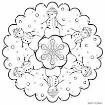 Новогодняя раскраска мандала Снеговики
