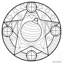 Новогодняя раскраска мандала Звезда и елочный шар