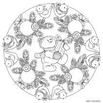Новогодняя раскраска Медведь с подарком  мандала