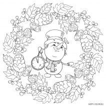 Новогодняя раскраска Снеговик с часами мандала