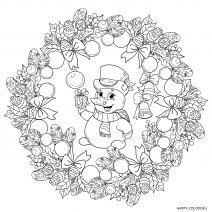 Раскраска Новогодний снеговик Мандала