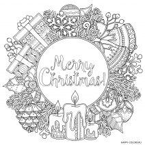 Рождественская раскраска Мандала