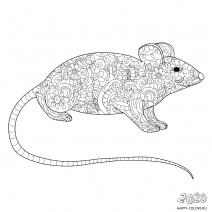 Новогодняя крыса Раскраска