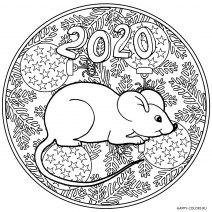 Новогодняя мышка раскраска 2020