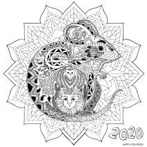 Новогодняя мышка раскраска мандала 2020