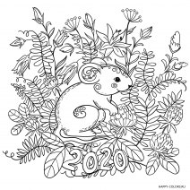 Новогодняя мышка раскраска