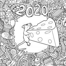 Новогодняя мышка с сыром раскраска