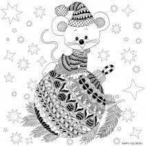 Раскраска новогодняя мышь на фоне звезд