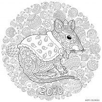 Раскраска новогодняя мышь в короне 2020