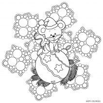 Раскраска новогодняя мышка на фоне снежинки