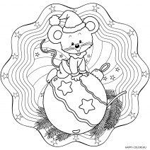 Раскраска новогодняя мышка на шарике