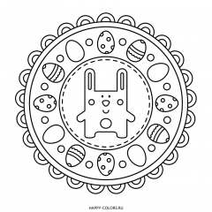 Мандала пасхальный кролик и яйца