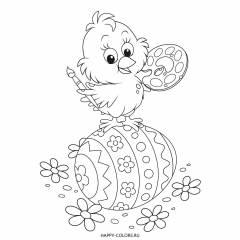 Раскраска цыпленок-художник и пасхальное яйцо
