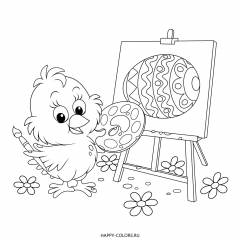 Раскраска цыпленок рисует пасхальное яйцо