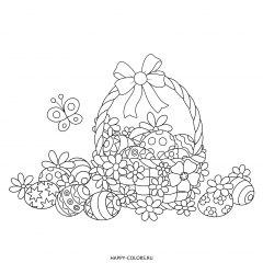 Раскраска корзинка с пасхальными яйцами с узорами