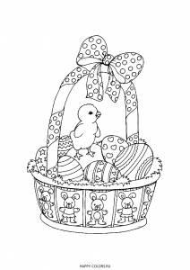 Раскраска корзинка с яйцами и цыпленком