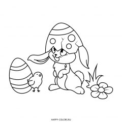 Раскраска кролик в скорлупе и цыпленок