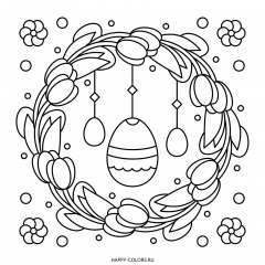 Раскраска на Пасху венок и яйца