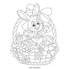 Раскраска пасхальная корзинка с яйцами и зайчик