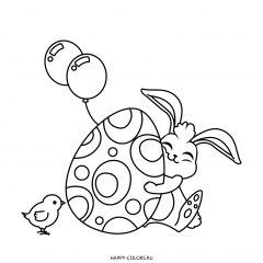 Раскраска пасхальное яйцо с узором и кролик с цыпленком
