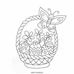 Раскраска пасхальные яйца в корзинке и бабочка