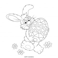Раскраска пасхальный кролик с яйцом