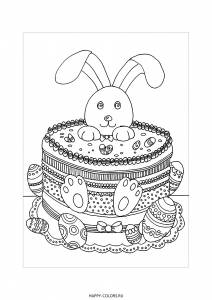 Раскраска пасхальный торт и заяц