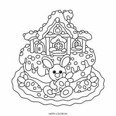 Раскраска торт с домиком и кролик