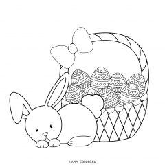 Раскраска заяц и пасхальная корзинка
