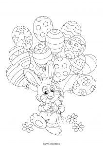 Раскраска зайчик с шариками