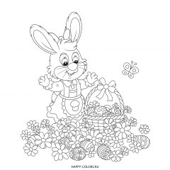 Раскраска зайка в цветах и пасхальные яйца в корзинке