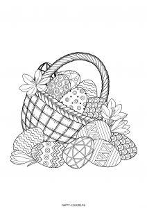 Раскраска корзинка с пасхальными яйцами и цветами