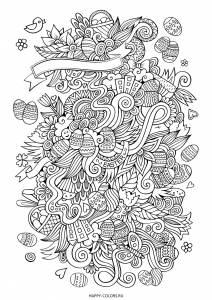 Раскраска Пасха дудлы
