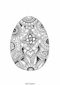 Раскраска пасхальное яйцо зентангл
